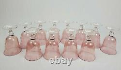 Vintage SC Line Italy Etched Pink Floral Wine Water Glass Goblet Set of 12