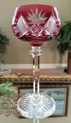 Vintage SET OF (4) Val St Lambert Multi Color Cut to Clear Crystal Wine Goblets