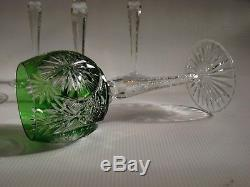 Vintage SET OF (6) Bohemian Multi Color Cased Cut to Clear Crystal Wine Stems