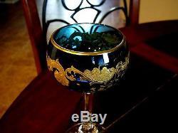 Vintage ST. LOUIS French Crystal Massenet Gold Encrusted Sky Blue Hock Wine