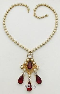 Vintage Schreiner Glass Pearl & Wine Red Rhinestone Brooch Pendant Necklace