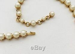Vintage Schreiner Glass Pearl & Wine Red Rhinestone Brooch Pendant Necklace