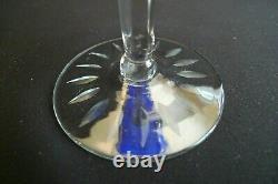 Vintage Set (4) Wine Hock Drink Glasses Stemware Cobalt Blue Cut To Clear 8oz