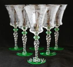 Vintage Set 6 Tiffin Optic Glass Water Wine Goblets Green Acce 15022-1 Engraved