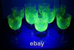 Vintage Set 9 Green Cut Uranium Glass Clear Stemmed Wine Glasses