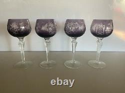 Vintage Set Of 4 Bohemian Czech Amethyst Cut To Clear Wine Goblet