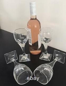 Vintage, Set Of 4, Daum France Art Deco Wine Glasses On Square Feet, Signed