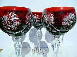 Vintage Set Of 5 Dark Red Cut Crystal To Clear 8 1/4 Inch Tall Wine Glasses