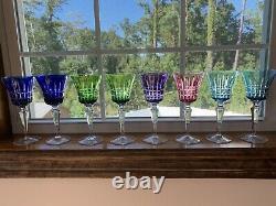 Vintage Set Of 8 Bohemian Czechoslovakian Cut To Clear Wine Glasses Goblets