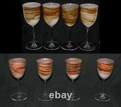 Vintage Set Of 8 Steven Maslach Earth Art Glass Wine Goblets Signed & Dated Mint