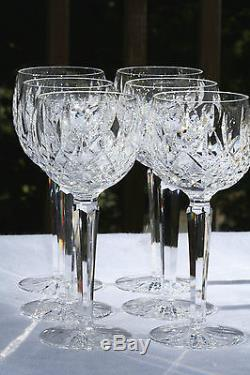 Vintage Set Of Six 6 Lismore Hock Balloon Red Wine Goblet Glasses Free Ship