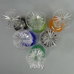 Vintage Set Of Six Bohemian Colour Flased & Cut Crystal Hock Glasses