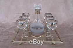 Vintage Set of 6 Culver Wine Glasses, Decanter & Metal Carrier Rack