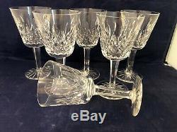Vintage Set of 6 Waterford Crystal LISMORE 6 oz. Claret Wine Glasses Ireland