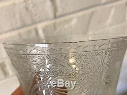 Vintage Set of 9 Wine Glasses Floral & Gourd Etched Decoration Green Swirl Stem