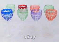 Vintage Set of Eight Bohemian Hock Glasses Cut To Clear Multi Coloured c 1960s