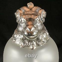 Vintage Silver Plate Rams Head Frosted Glass Pitcher Wine Decanter Claret Jug