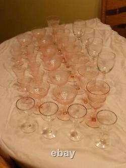 Vintage Stemmed Pink Depression Glasses Wine, Water, Dessert