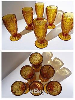 Vintage Tiara Indiana Orange Amber Liquor Wine Decanter Glass Drink Candle Set