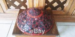 Vintage Tiffany Style Stained Leaded Glass Lamp Shade Ruby Wine Scarlet 14
