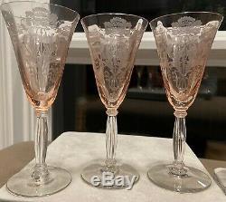 Vintage Tiffin Franciscan Pink Flanders Wine Goblets 6'' Set of 6