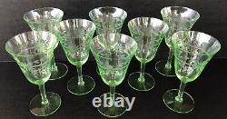 Vintage Tiffin Green Depression Glass Water Wine Goblets (8) Uranium Vaseline