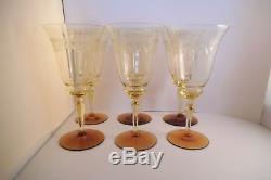 Vintage Tiffin Lot of 6 Vaseline & Amber Optic Etched Water Goblets Wine Glasses