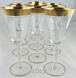 Vintage Tiffin Tall Wine Glass Set 9 Gold Rose Garland Rim Stemware Barware
