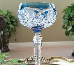 Vintage VAL ST LAMBERT French Blue Cut to Clear Crystal Wine Goblet Saarbrucken