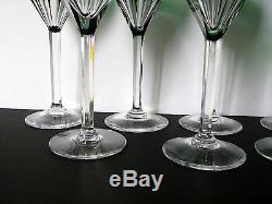Vintage VSL Val St Lambert Set of 8 Crystal Wine Glasses OSRAM Pattern