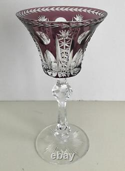 Vintage Val St Lambert Amethyst Cased To Clear Crystal Wine Goblet