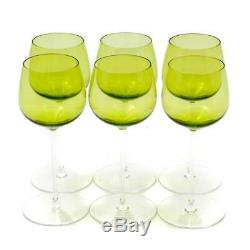 Vintage Val St. Lambert Green Acid-etched Crystal Wine Glasses Set=6