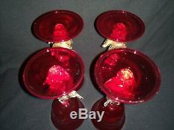 Vintage Venetian Salviati Ruby Red Swan Stem Wine Glasses Set of 4