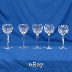 Vintage WATERFORD Lismore 7 1/2 Wine Hock Crystal Balloon Goblets Lot Of 5