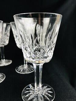 Vintage Waterford Lismore 9 GOBLETS Claret Wine 5 7/8 Lead Crystal