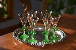 Vintage Watermelon Pink Green Wine Glasses, Set of 6, McDonald Glass