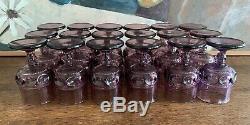 Vintage Wine Glasses Amethyst Kings Crown Thumbprint Set of 18 Plum Rare