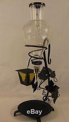Vintage Wrought Iron & Glass Wine Holder Aerator Dispenser Server Votive Holder