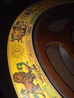 Vintage Zoffoli Wood Globe Bar Cart- Wine Liquor Glasses Zodiac Italy