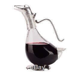 Vintage design duck wine decanter silver finish glass, modern decor or gift