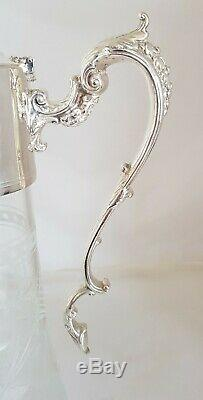 Vintage fine quality cut glass Wine Ewer / Claret Jug. By G. C. T & Co. Sheffield