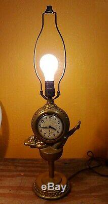 Vintage nude woman in wine glass with Clock Lamp Chapman Chicago