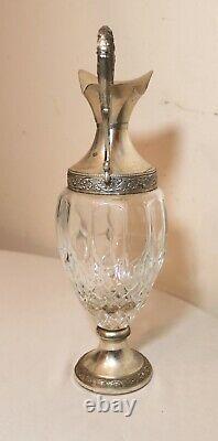Vintage ornate silver plate figural glass ewer wine claret decanter antique