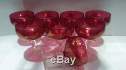Vintage red cranberry goblets wine champagne set of 8 depression glass antique