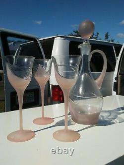 Vntg Romania Pink Satin Glass Wine Decanter Set withStopper & 3 Cut/Satin Glasses