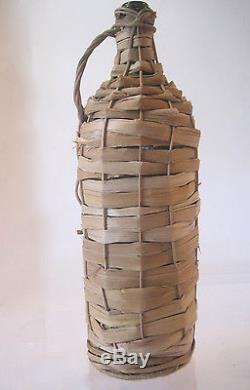 Vtg 3 Liter Ltrretsinastraw Wicker Covered Greek Wine Bottle Green Glass 1960