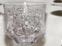 Vtg Antique Fabulous Set (8) Victorian CUT CRYSTAL WINE STEMS/GLASSES Very Fine