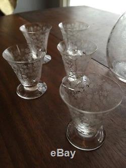Vtg Baccarat Crystal France ELISABETH MILLIFIORE Decanter & 10 Wine Glasses Set
