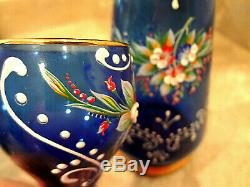 Vtg Blue Bohemian Czech Wine Decanter & 6 Cordial/Liqueur Glasses Hand Painted