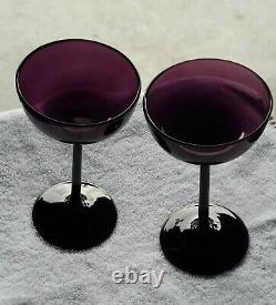 Vtg CARLO MORETTI Empoli Amethyst 8 pc 4 Long Stem Wine/ 4 champagne Murano
